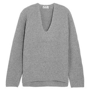 Acne Studios Grey Deborah Wool V-Neck Sweater